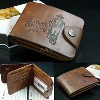 Genuine Men's Retro Cowboy Leather Bifold Wallet Multi Pocket Credit Card Purse