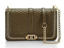 NWT $325 Rebecca Minkoff Chevron Quilted Love Leather Crossbody Bag with Chain!