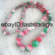 """multicolor jade  round 6-14mm  necklace 18"""" nature wholesale bead gift red gree"""