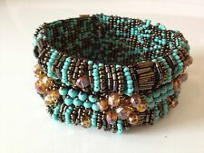 Czech GLASS Bead TURQUOISE BRONZE Bracelet Cuff Bangle Shamballa Guatemala