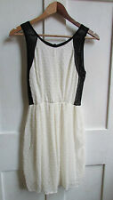 GORGEOUS **TFNC @ TOPSHOP** CREAM & BLACK SPOTTY SKATER DRESS SIZE SMALL/ 10