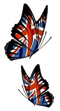 PAIR Of Butterflies Design With Union Jack British Flag vinyl car sticker decal