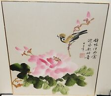 JAPANESE BIRD IN A PINK TREE ORIGINAL WATERCOLOR PAINTING SIGNED
