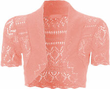 Ladies Bolero Shrug Crochet Knitted Cardigan Women Cropped short sleeve Top 8-22