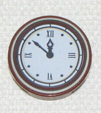 LEGO NEW REDDISH BROWN CLOCK WITH ROMAN NUMERALS ROUND 2 X 2 TILE PART