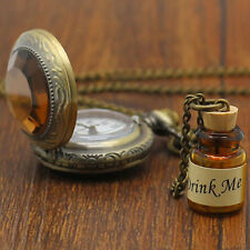 Drink Me Wishing Bottle Pocket Watch Alice In Wonderland Long Necklace Charm