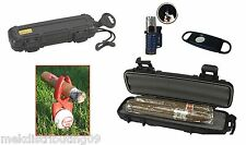 Cigar Caddy 2 Cigar Travel Humidor golf kit clip Triple Torch Lighter & cutter.