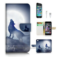 iPhone 6 6S (4.7') Flip Wallet Case Cover P2697 Wolf