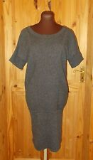 BANANA REPUBLIC charcoal grey ribbed knit batwing WOOL CASHMERE jumper dress S