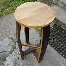 Solid Oak Stool made from Recycled Whisky Barrel Staves 70cm Tall