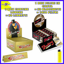 CARTINE Smoking LUNGHE Oro Gold 50 pz + FILTRI di CARTA SMOKING a cartoncino 50