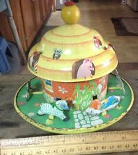 Vintage Carousell Merry Go Round The Barn Nursery Rhymes Tin Toy