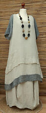 LAGENLOOK*D'CELLI* LINEN OVERSIZE 2 POCKET LONG TUNIC/DRESS*NATURAL/GREY*XL- XXL