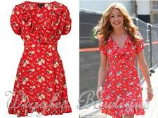 Topshop Vintage Spring Meadow Floral Ruffle Frill Tea Dress - Red UK6/EU34/US2