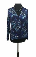 EAST Wrap Top Size 12 Blue Floral Tie over Designer Stretch Wedding Evening