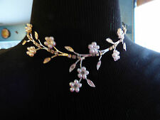 GOTH FAIRIE WEDDING BRIDAL SILVER CRYSTAL PEARL FLOWER NECKLACE WITH EXTENDER