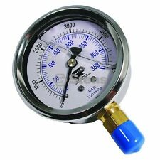 "Pressure Power Washer Gauge 0 - 5000 PSI 1/4"" NPT Stainless Steel Glycerin Fill"
