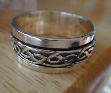 size 13.25 Sterling Silver 8g Men's Spinning Spinner Knot 10mm wide Band Ring