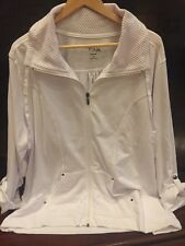 Womens White Zip-Up Knit Jacket Size 3X High Fifth Crochet Trim New w/Tag Hanger