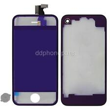 Plating Mirror LCD Screen Touch Digitizer +Back Cover for iPhone 4 GSM Purple