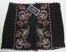 NWT Juicy Couture Pitch Black Rebel Romance Embroidered Skirt Size 8