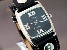 Fred Belay Watch Designer Fashion Wide Black Leather Band Studded Square Casual