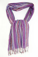 LADIES PURPLE / COLORFUL STRIPE INFUSED TASSELED FLORAL PATTERN SCARF NEW(MS39)
