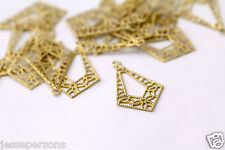 Raw Brass Diamond Drop Charms Filigree Connectors Findings 23mm (16)