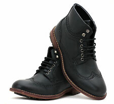 Mens Casual Ankle Boots Lace UP Desert Fashion Shoes Faux Leather Retro Size UK
