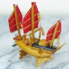 "Chinese Wood Junk Ship Detailed Antique Vintage Miniature Figurine - 4"" W - New"
