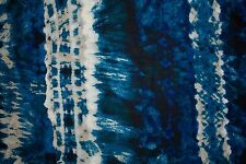 Blues Tie-Dye Print #1 100 Rayon Challis Sewing Shirt Apparel Fabric BTY
