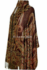TripleLayer Sparkling Pashmina  Shawl/Wrap--Brown