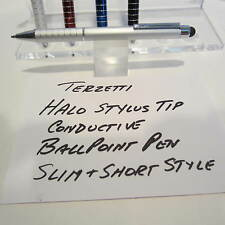 TERZETTI HALO-CT-SLIM/SHORT CHROME BALLPOINT PEN-CONDUCTIVE TOP-USE MINI REFILL