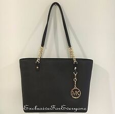 NWT Michael Kors Jet Set Chain East West Black Top Zip Leather Tote $268