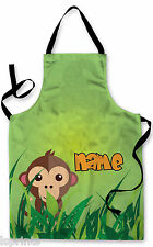 PERSONALISED JUNGLE MONKEY CHILDRENS APRON BAKING PAINTING WATER ARTS & CRAFTS