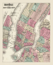 "Vintage Street Map of New York  City CANVAS PRINT poster 16""X12"""