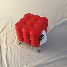 RED VANITY FOOT STOOL CHROME LEGS FAUX LEATHER STORAGE A2131 MAKEUP KID CHAIR