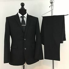 "MENS LANIFICIO .CERRUTI BLACK  WOOL SUIT- CHEST 38""/ WAIST 32"" /INSIDE LEG 28"""
