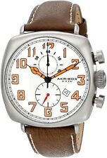 Akribos XXIV AK786WT Fecha Reloj Correa De Cuero Marrón (Entrega Express)