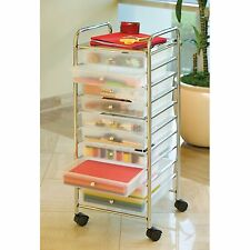 Seville 10 Drawer Clear Rolling Cart - Office School Garage Tools Storage Crafts