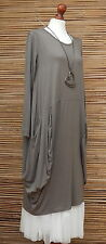 LAGENLOOK AMAZING QUIRKY  BOHO 2 POCKETS DRESS/TUNIC*MOCHA*SIZE 12-18 ITALY