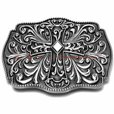 BBU1864 MEDIEVAL CRUSADE CELTIC CROSS WEAVE FLORAL TATTOO STYLE BELT BUCKLE