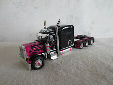 DCP  1/64 PETERBILT TRIAXLE CAB BLACK with PINK FLAMES TRUCK TRACTOR L@@K!