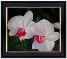 Framed Hand Painted Oil Painting Giant White/Lavender Orchids 20x24in
