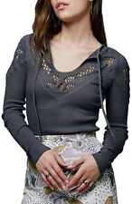 136832 Free People With Love Lace Detail Embroidered Cutout Gray Blouse Top  L
