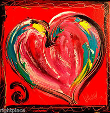 PINK HEART ABSTRACT  - ORIGINAL OIL Painting  Stretched IMPRESSIONIST POASDV