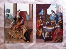 2 ART Postcards FRENCH DRESSED COSTUME PRINTs Pierpont Morgon Library