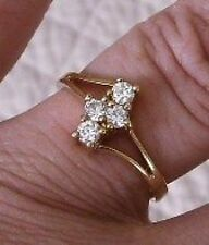BAGUE  BIJOU VINTAGE PLAQUE OR CRISTAUX IMITATION  DIAMANT T.56 p