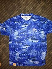 New GUY HARVEY Polyester Shirt AFTCO Fish Camo Size Small Marlin Blue