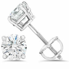 1/4ct Ideal Cut G SI Diamond Studs With Screw Backs 14k White Gold Lab Created